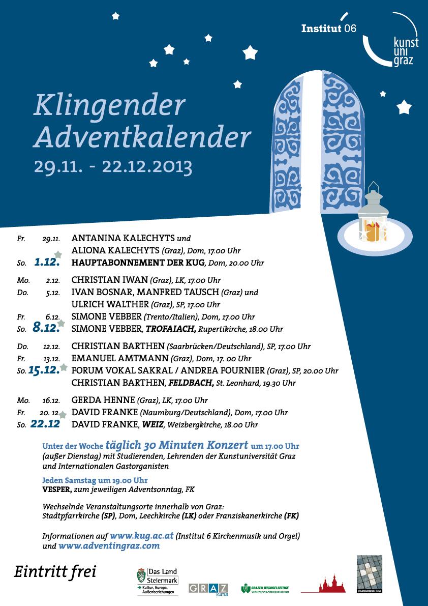 Klingender steirischer Adventkalender, Orgelkonzert, Stadtparrkirche Graz, 17.00 Uhr