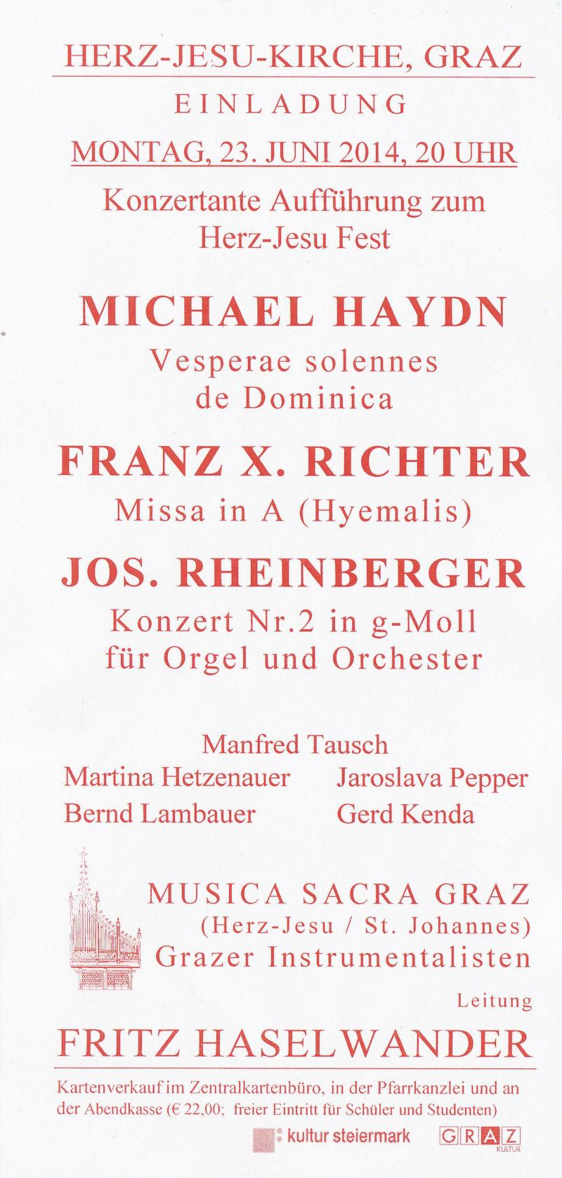 Orgelkonzert in der Herz-Jesu-Kirche im Juni 2014