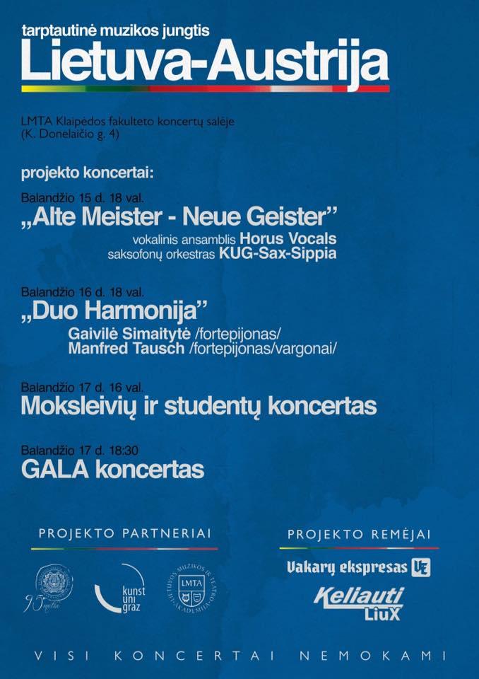 Masterclass für Wiener Klassik und Improvisation, 15. bis 17. April 2019 Klaipeda, Litauen